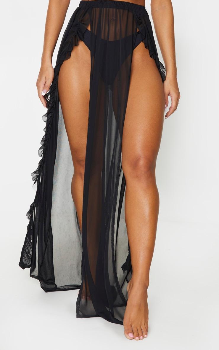 Black Frill Split Maxi Skirt 2