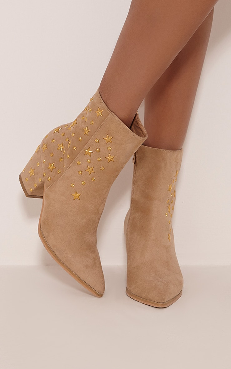 Arrabella Cream Faux Suede Star Studded Ankle Boots 1