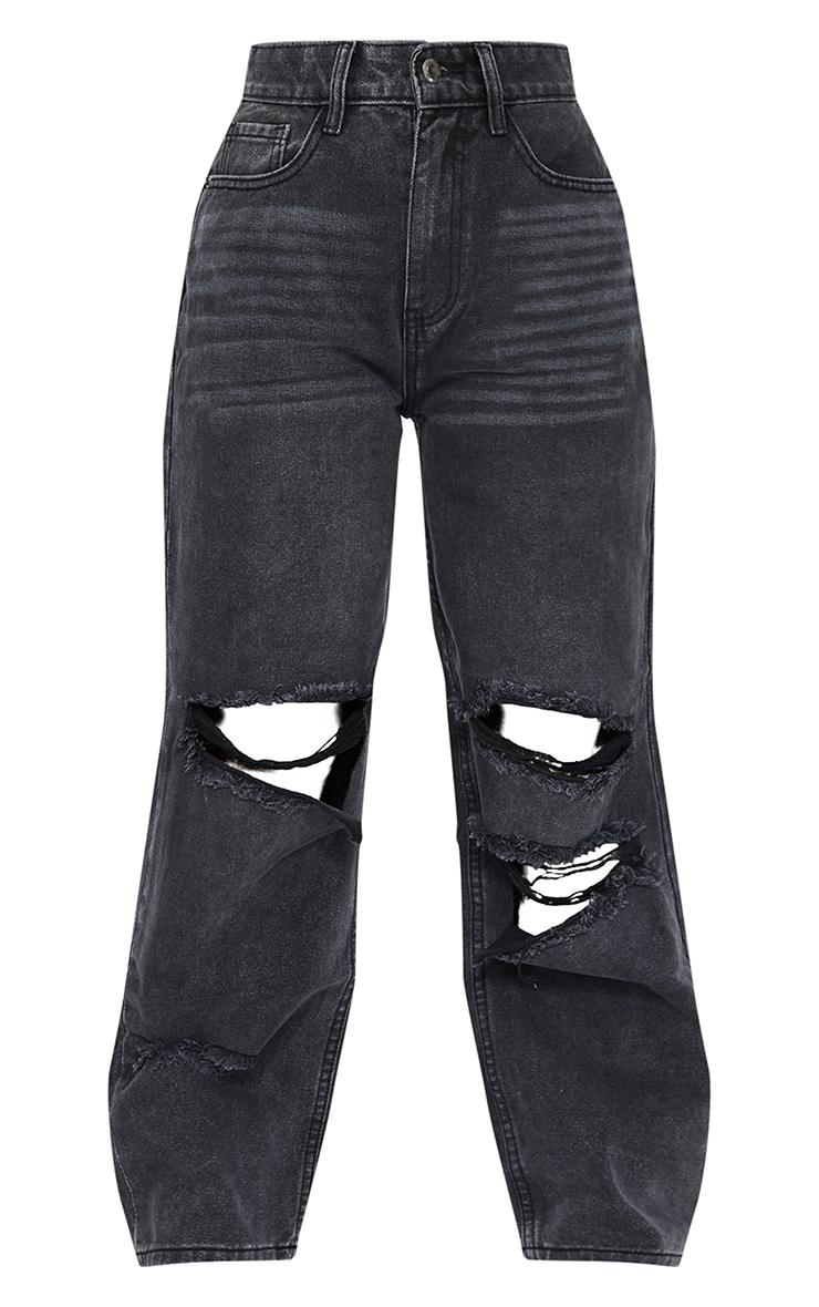 Petite Black Baggy Low Rise Distressed Boyfriend Jeans 5