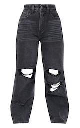 Petite Black Baggy Low Rise Ripped Boyfriend Jeans 5