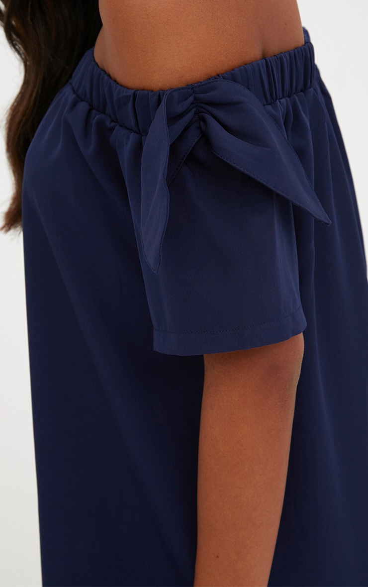 Navy Crepe Bardot Swing Dress 5