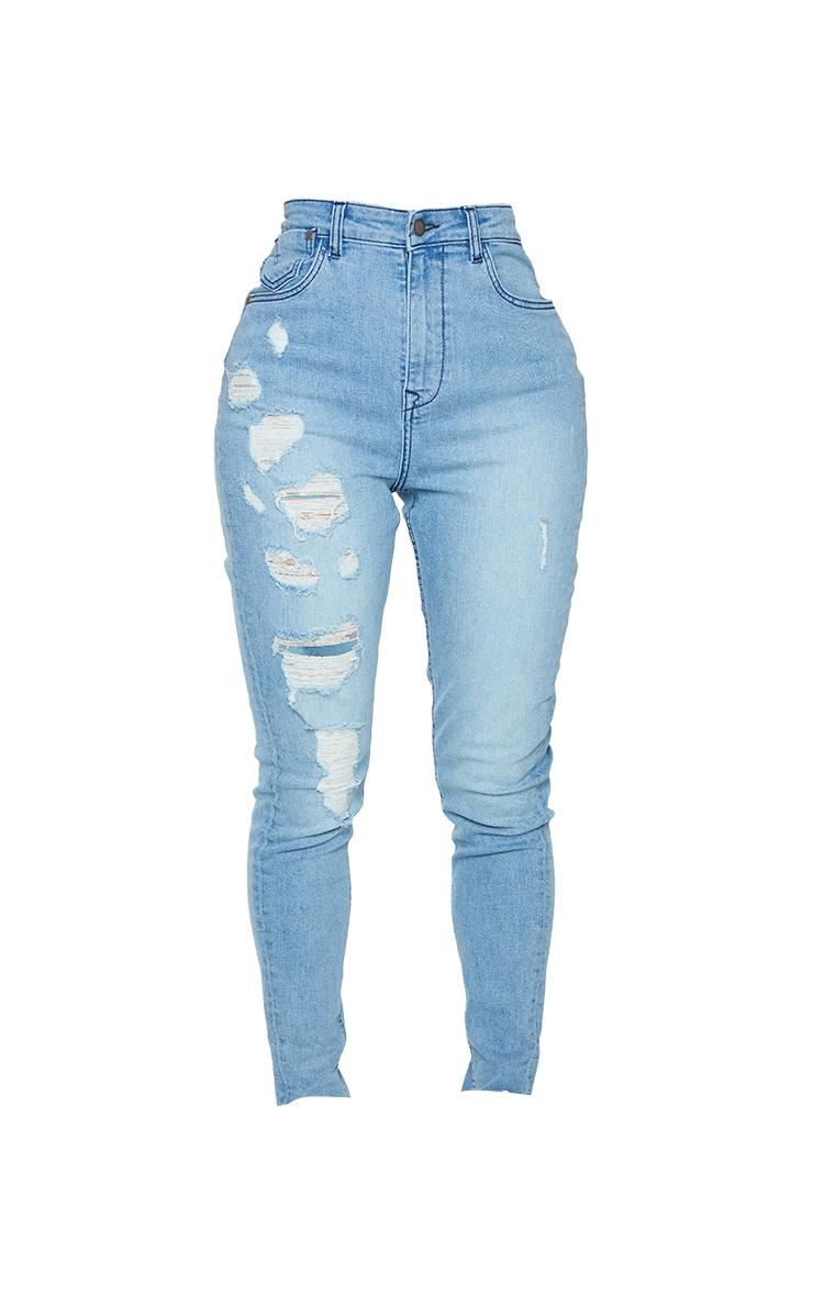 PRETTYLITTLETHING Shape Vintage Wash Ripped Pocket Detail Skinny Jeans 5