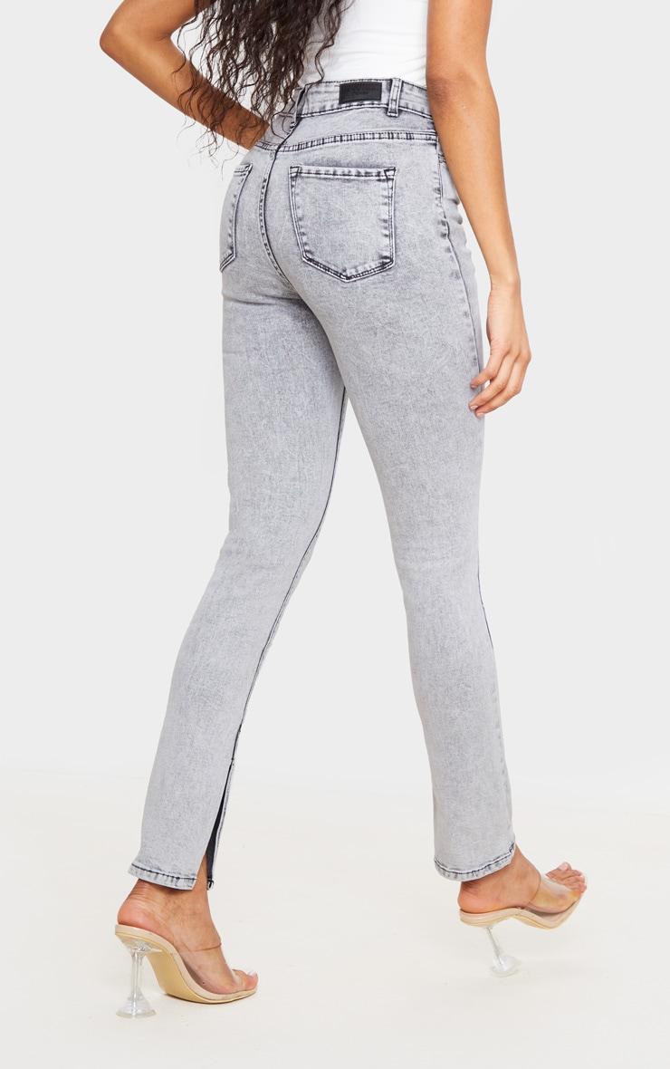 Washed Grey Split Hem Skinny Jeans 3
