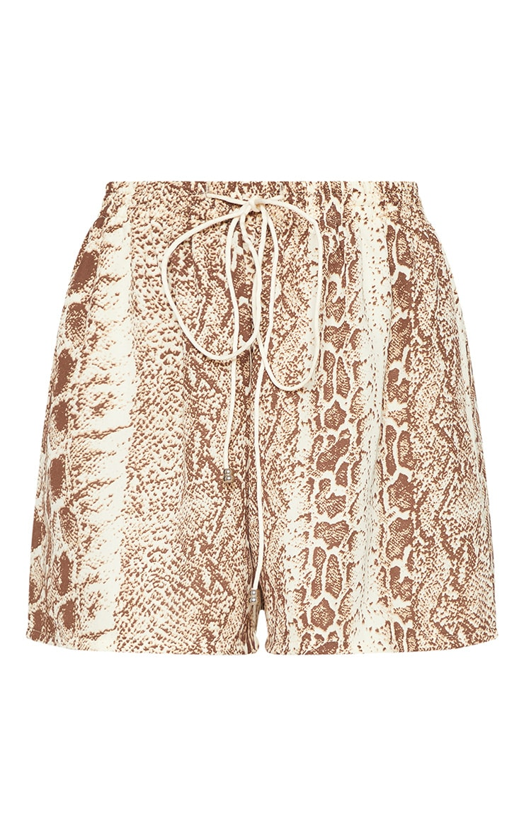 Petite Brown Snake Print Floaty Shorts 3