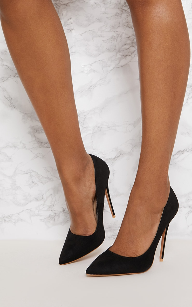Black High Faux Suede Court 2