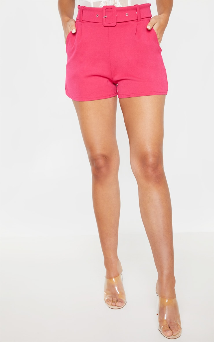 Bright Pink Belted Tailored Short 2