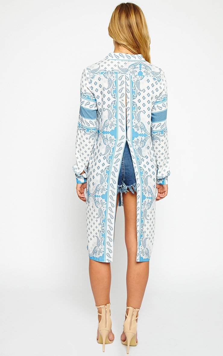 Katrina White Paisely Print Shirt Dress 2