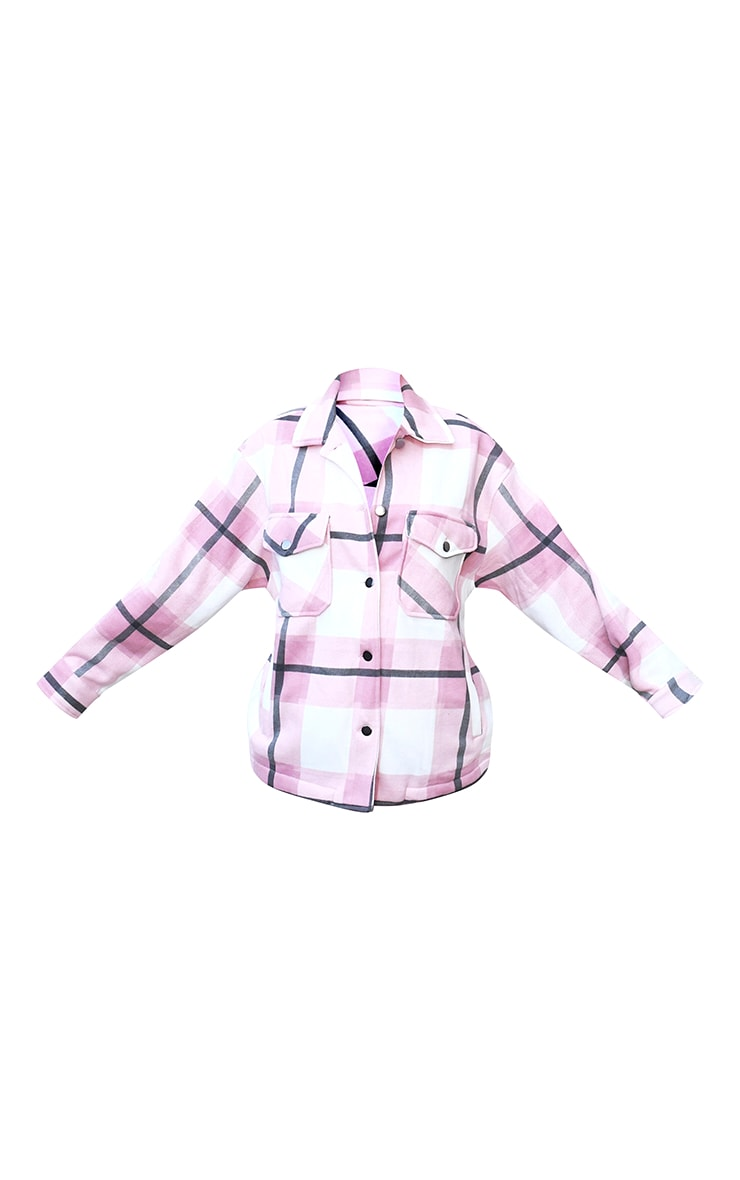 Pink Checked Pocket Front Shacket 5