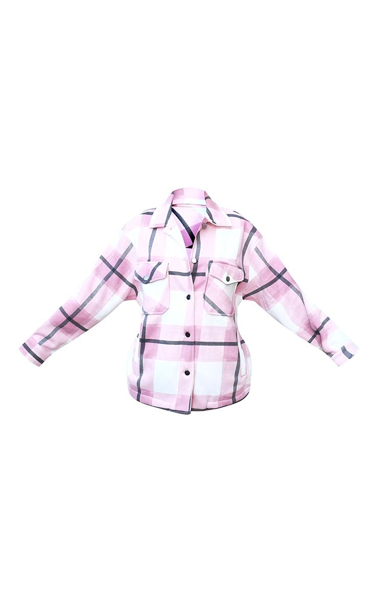 Pink Checked Pocket Front Shacket 5