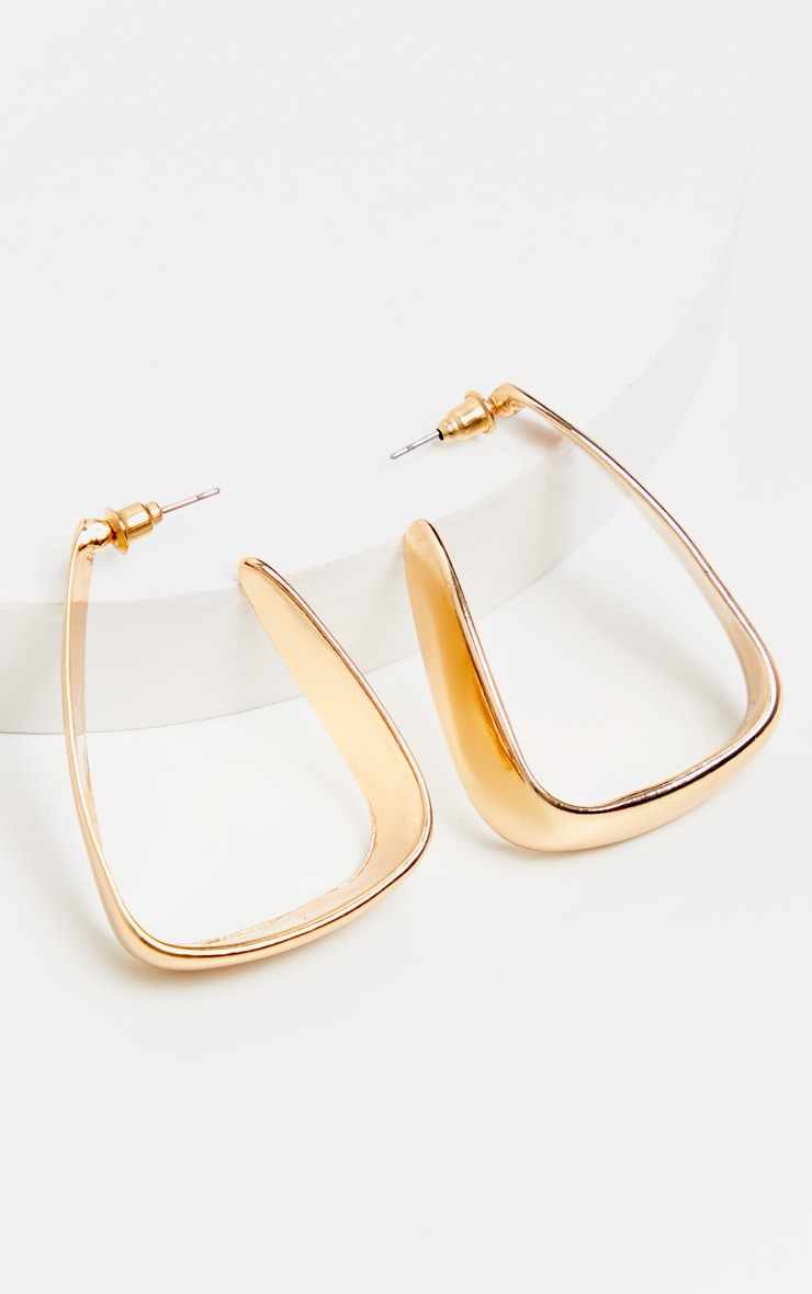 Gold Squared Medium Hoop Earrings 2