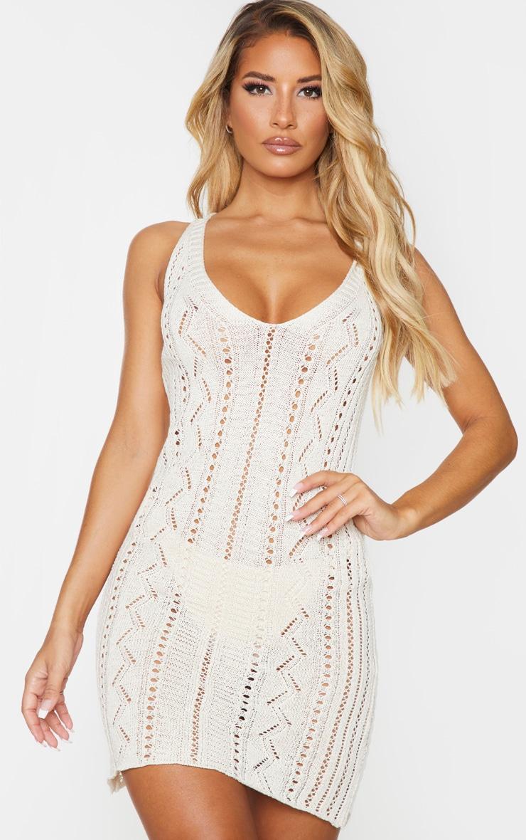 Stone Crochet Mini Beach Dress 1