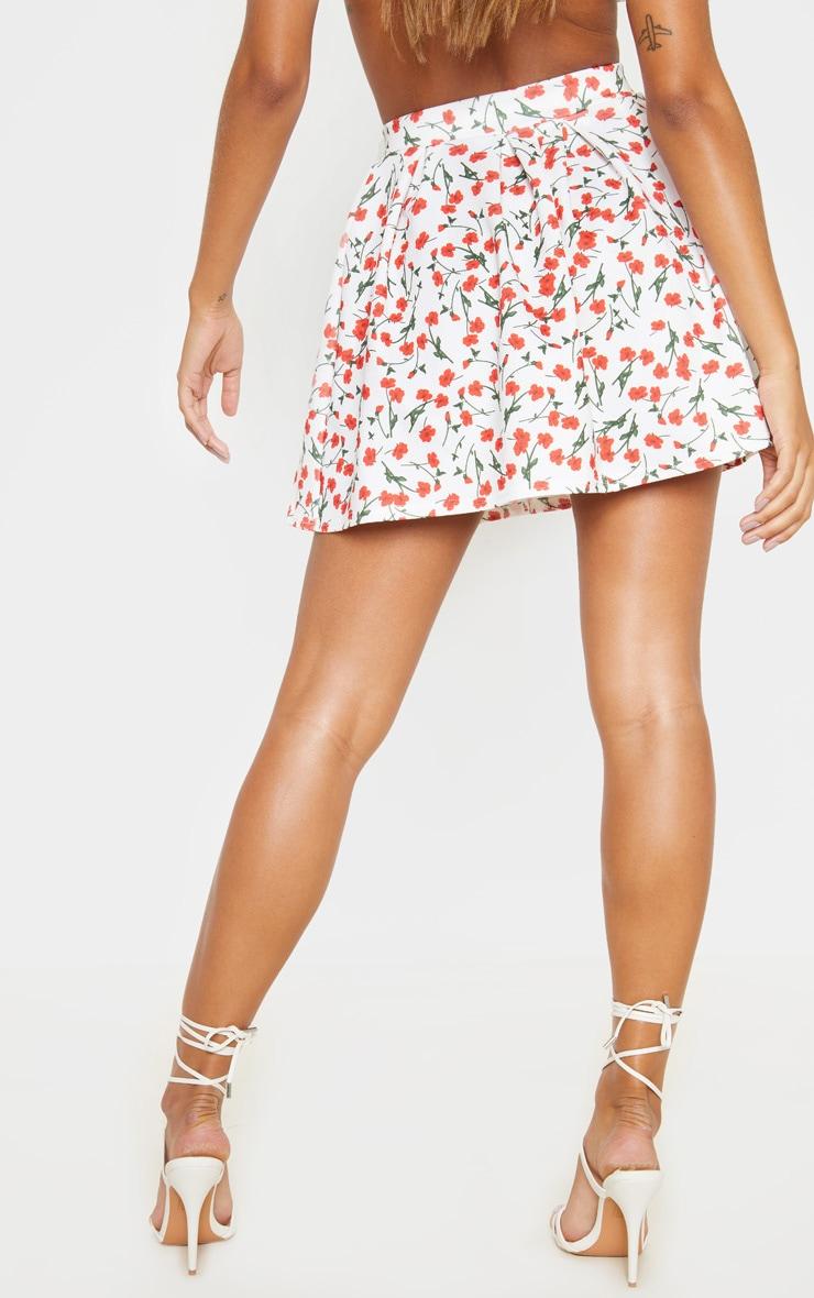 White Floral Print Pleated Waist Mini Skirt 4