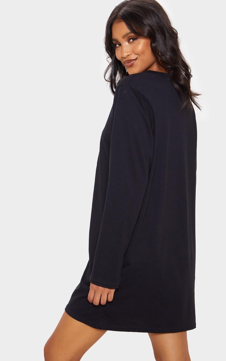 Black Cherub Slogan Print Long Sleeve T Shirt Dress 2