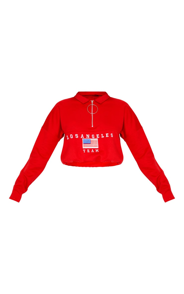 Red Log Angeles Embroidered USA Zip Sweater 3