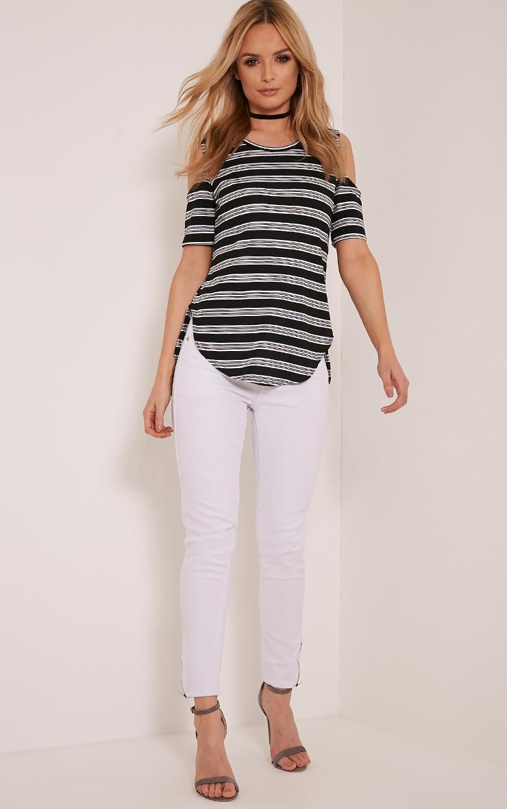 Andie Black Striped Cold Shoulder T Shirt 5
