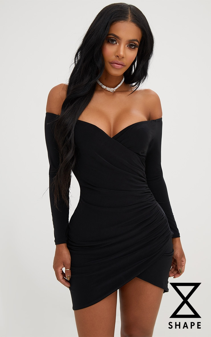 Shape Black Ruched Bardot Bodycon Dress 1