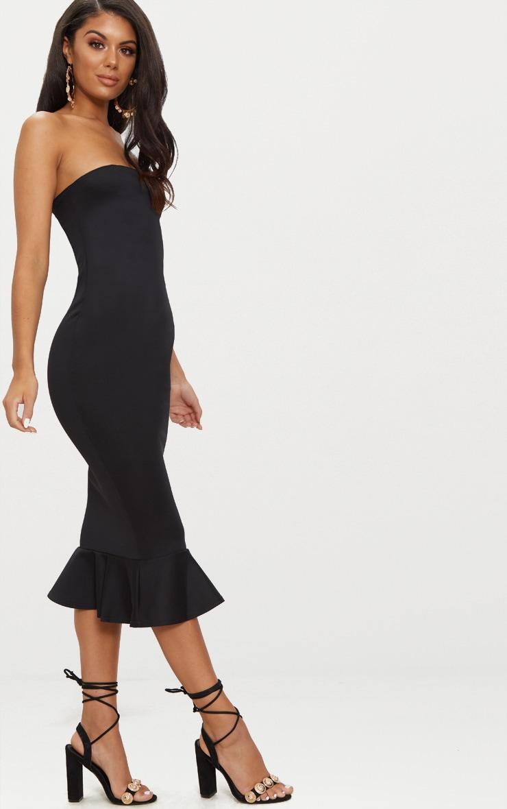 Isabella Black Bandeau Frill Hem Midaxi Dress 4