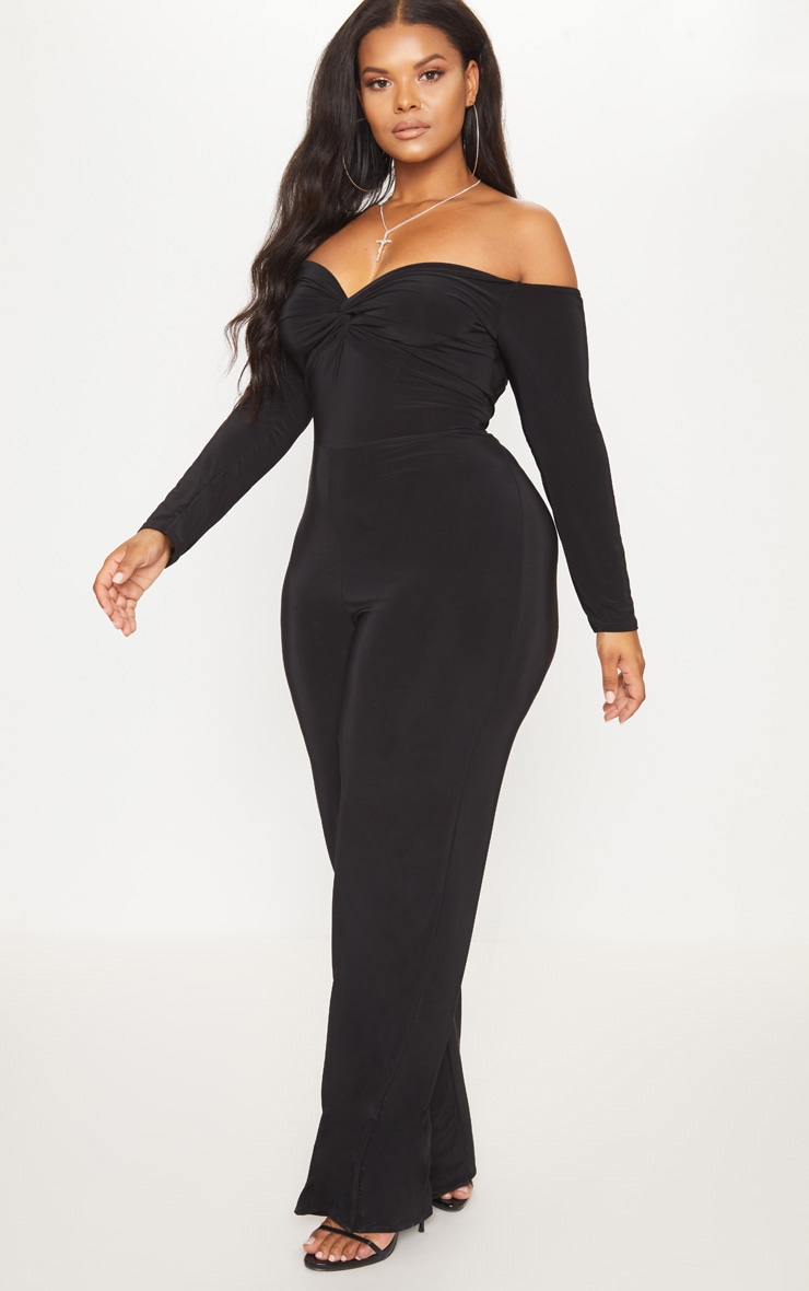 Plus Black Slinky Twist Bardot Wide Leg Jumpsuit 4