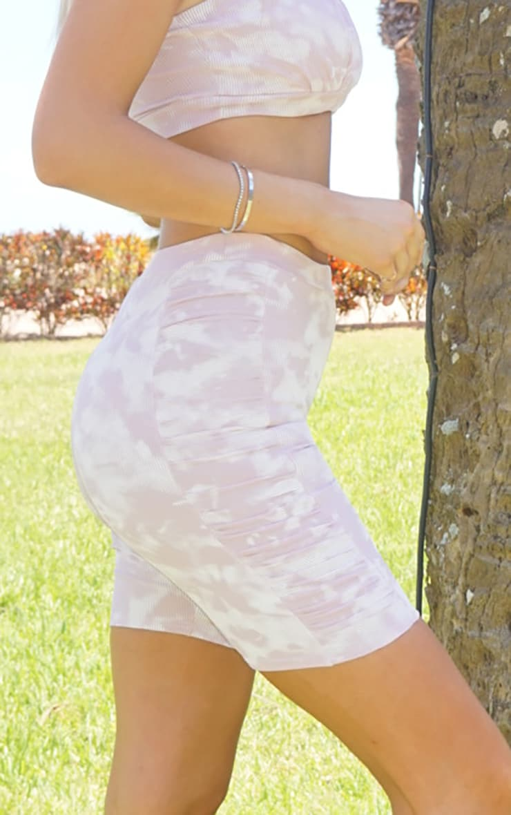 Tall Lilac Tie Dye Ruched Side Bike Shorts 5