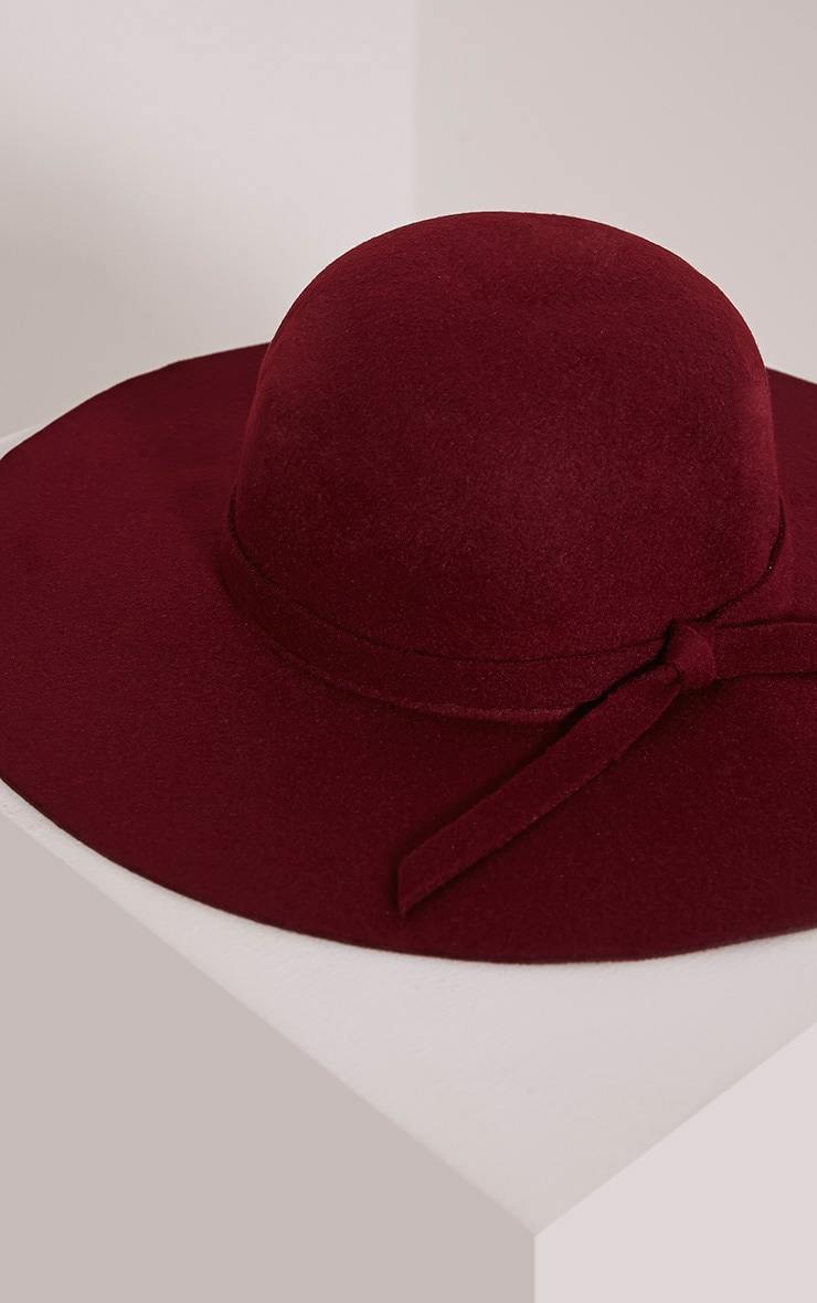 Rika Burgundy Floppy Hat 4