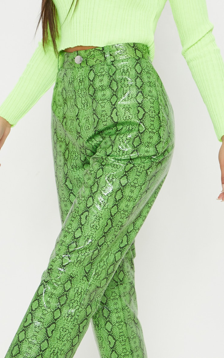 Green Faux Leather Snakeskin Straight Leg Pants 5