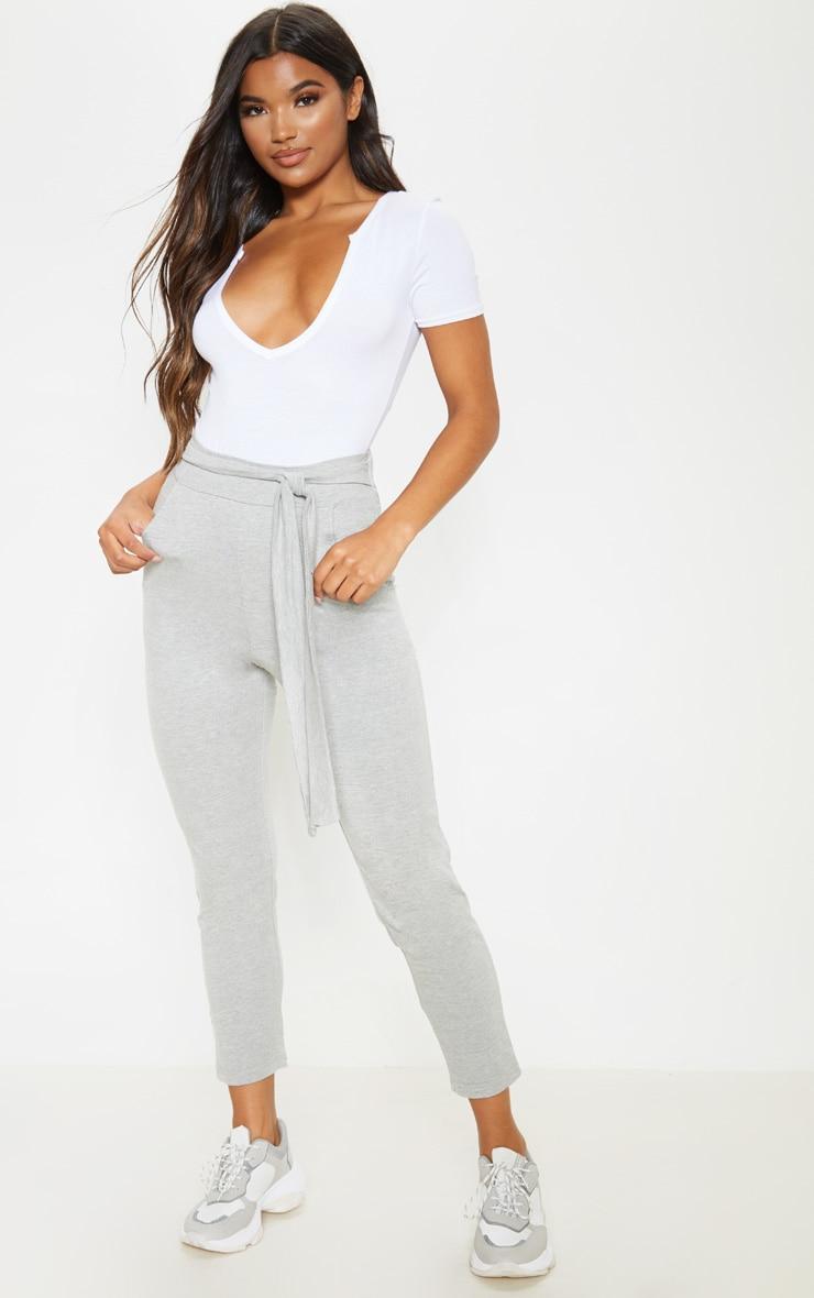 Grey Cotton Tie Waist Skinny Trouser 1