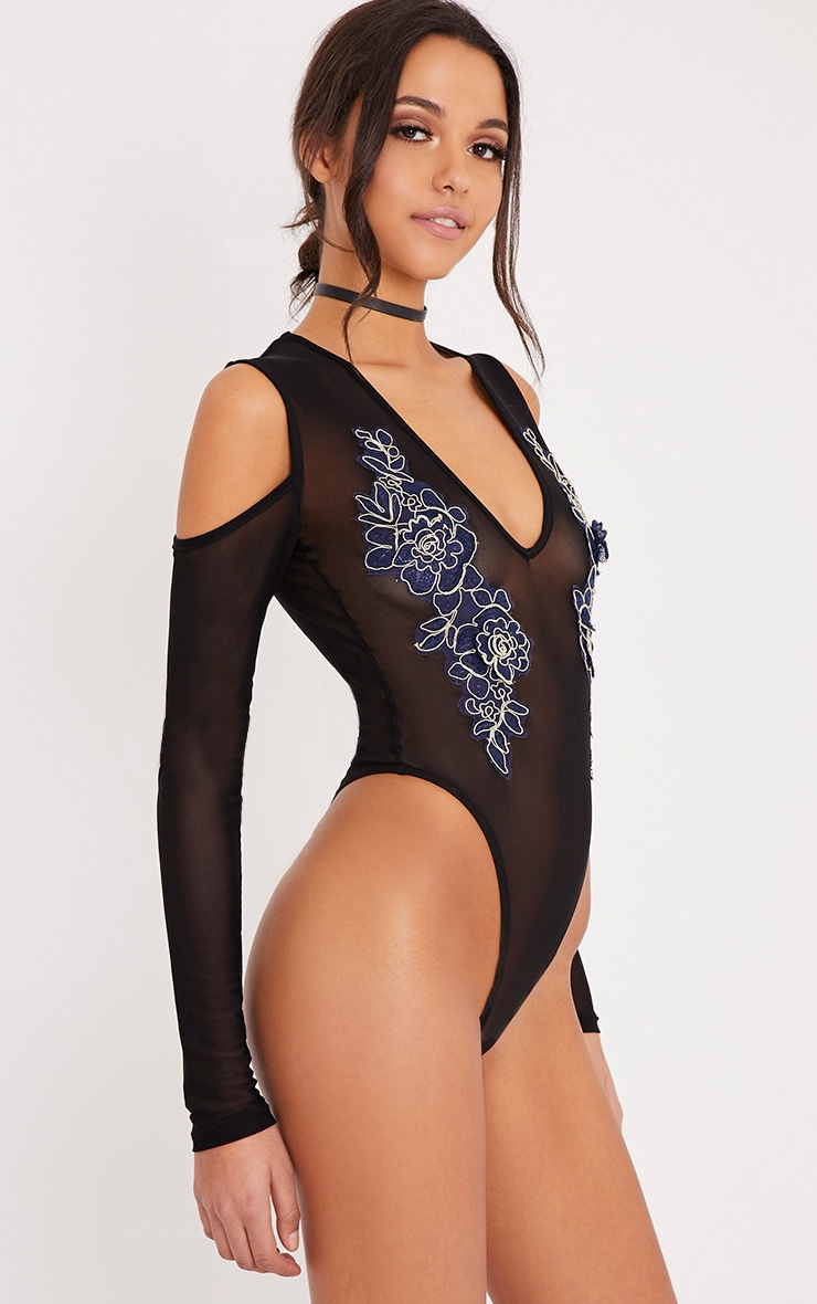 Joelle Black Mesh Cold Shoulder Floral Applique Thong Bodysuit 5