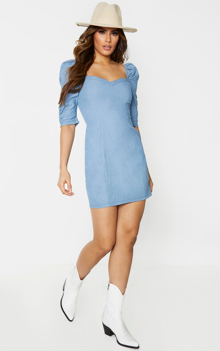 Tall Light Blue Wash Denim Puff Sleeve Mini Dress 3