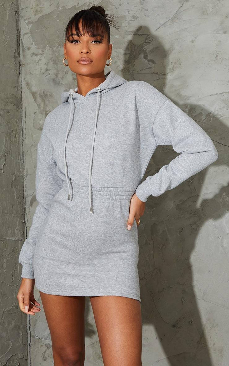 Grey Elasticated Waist Long Sleeve Bodycon Dress