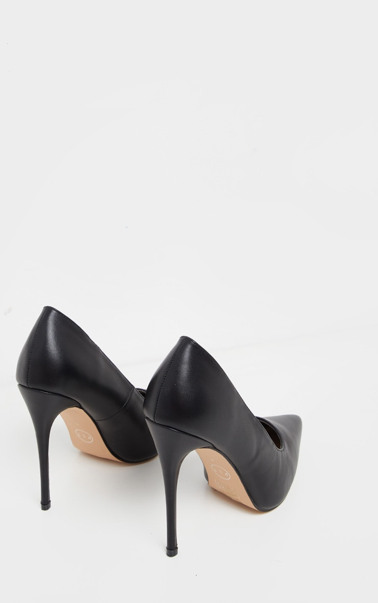 Black PU Court Shoes 4
