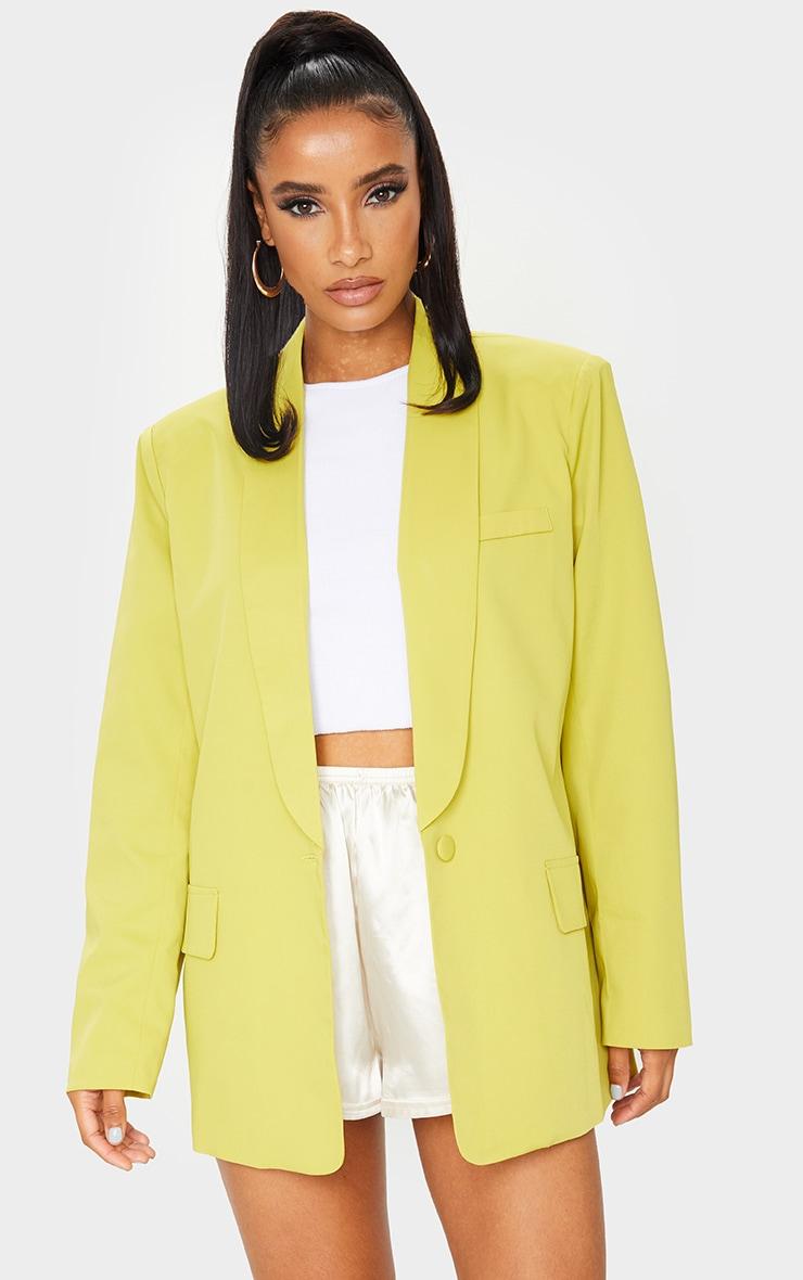 Lime Curved Lapel Woven Longline Blazer 3