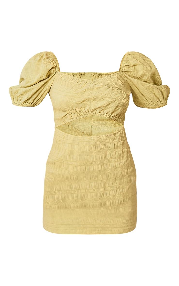 Lime Textured Linen Cut Out Puff Sleeve Shift Dress 5