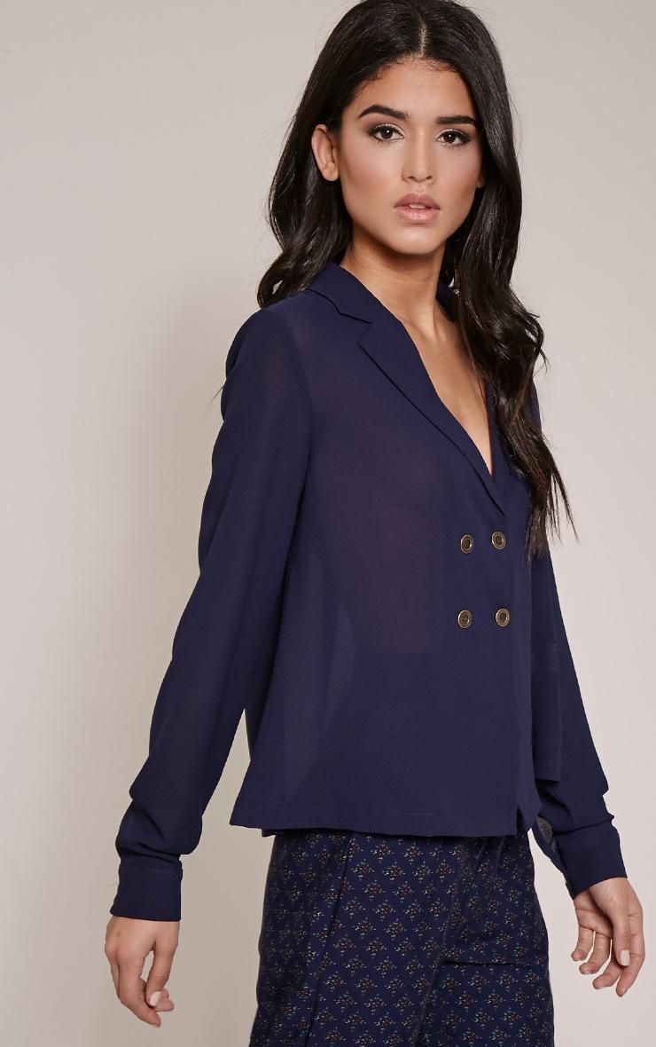 Elane Navy Open Collar Blouse 4
