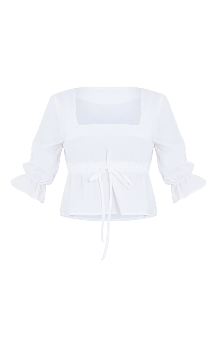 Petite White Ruched Middle Blouse 5