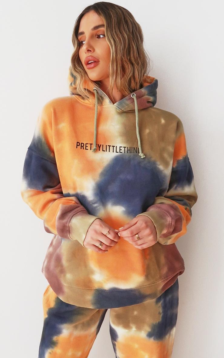 PRETTYLITTLETHING Multi Oversized Tie Dye Hoodie 1