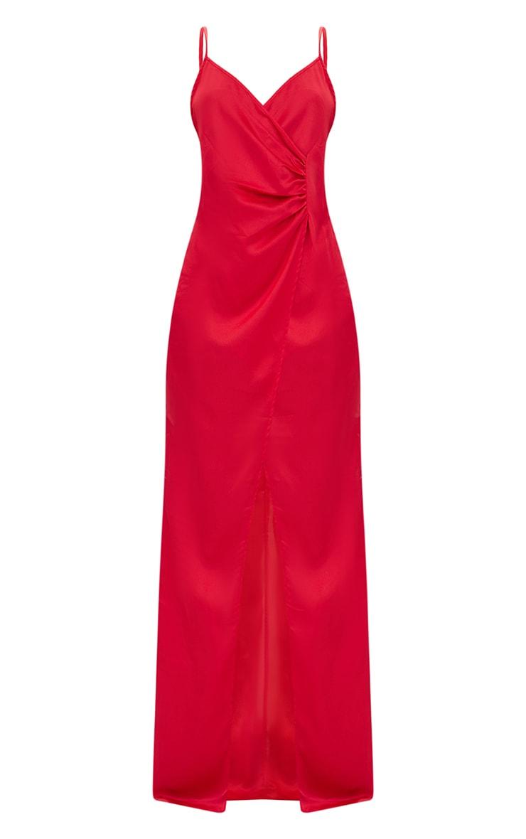 Red Satin Strappy Wrap Detail Maxi Dress 3