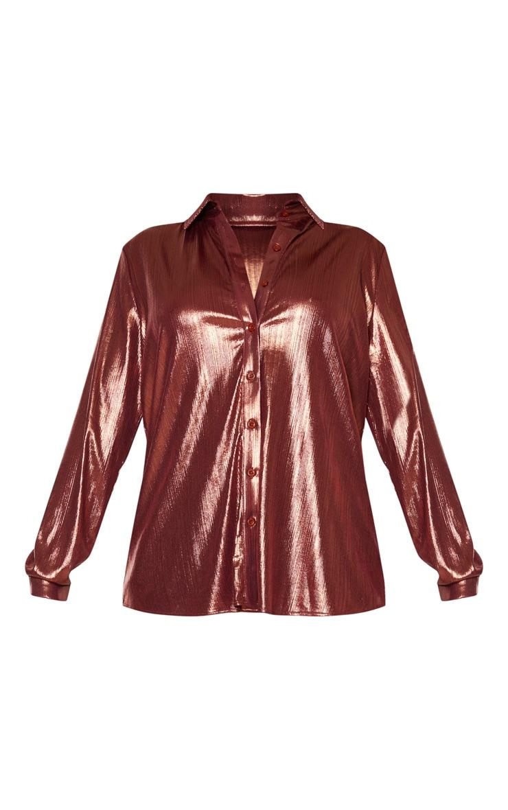 Bronze Metallic Button Front Shirt 3
