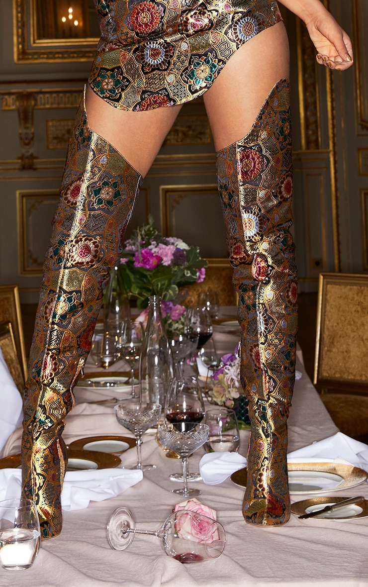 Gold Oriental Brocade Thigh High Boot 1