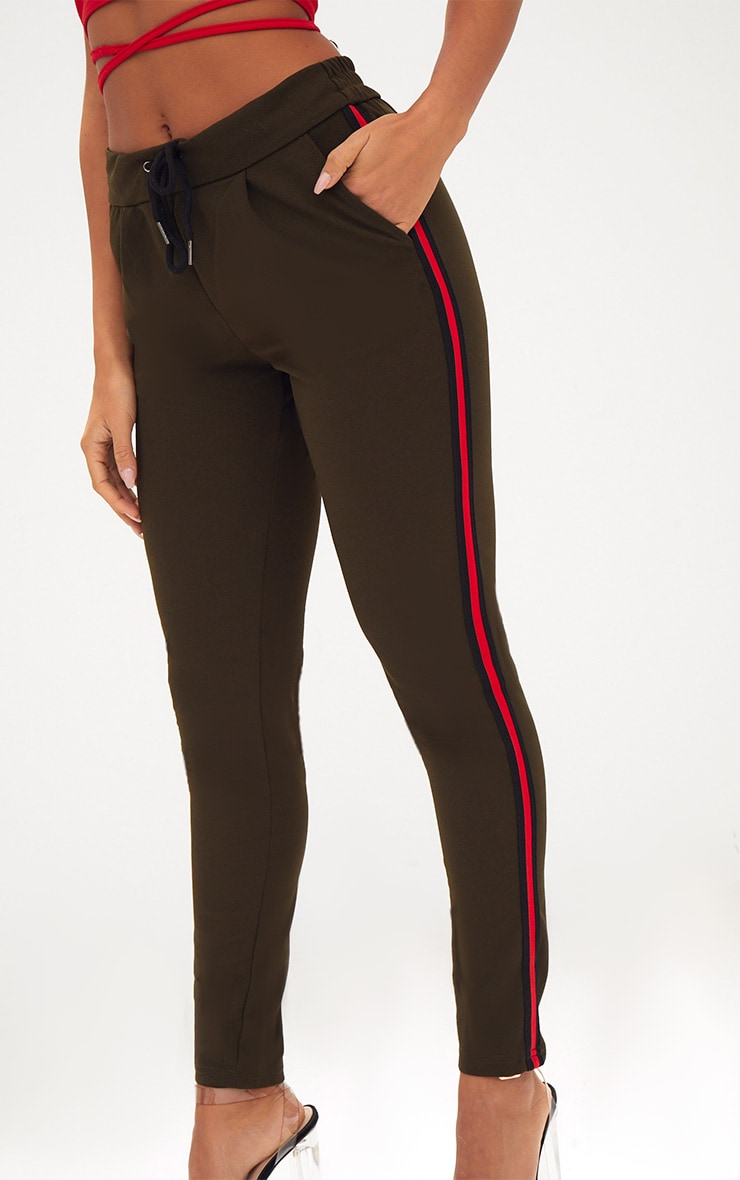 Khaki Sports Stripe Trouser 5