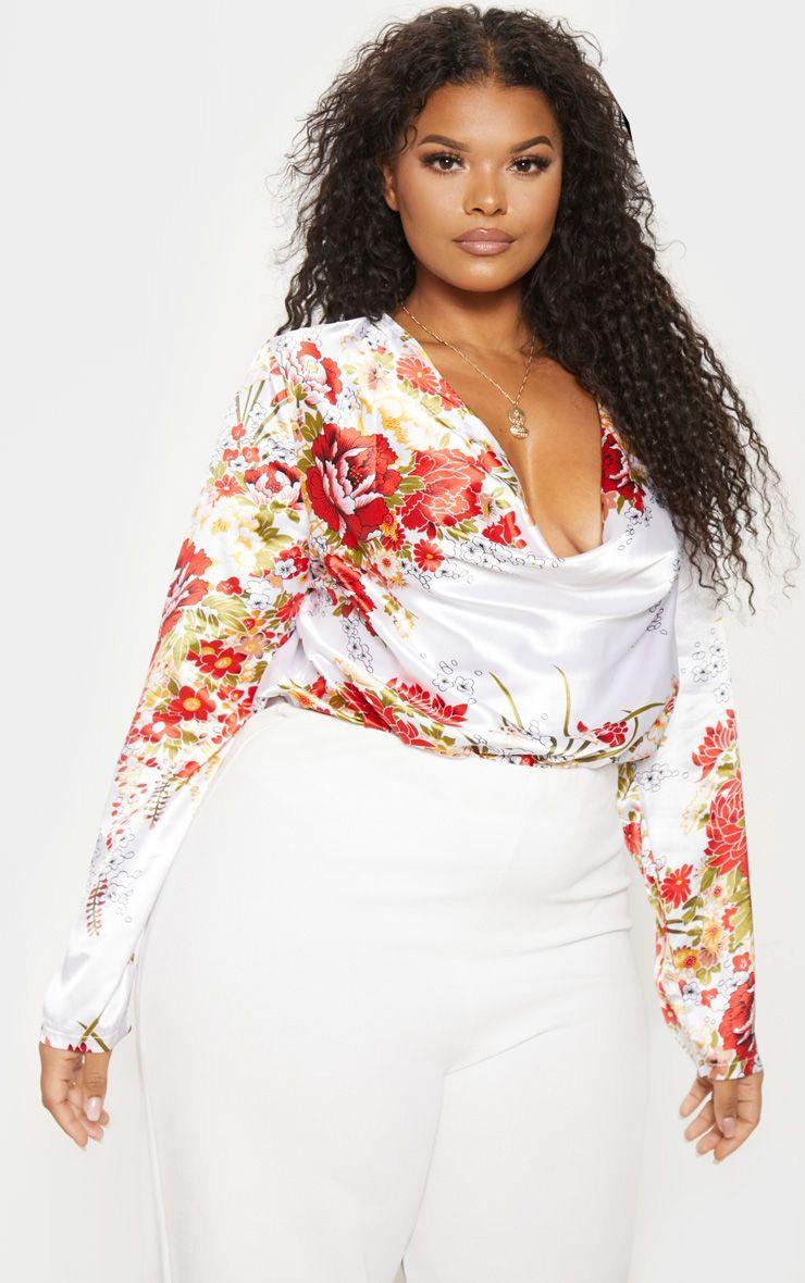 Plus Cream Floral Print Satin Cowl Long Sleeve Bodysuit 1