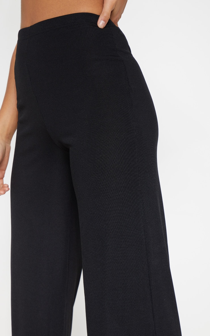 Petite Black Ribbed Wide Leg Trousers 4