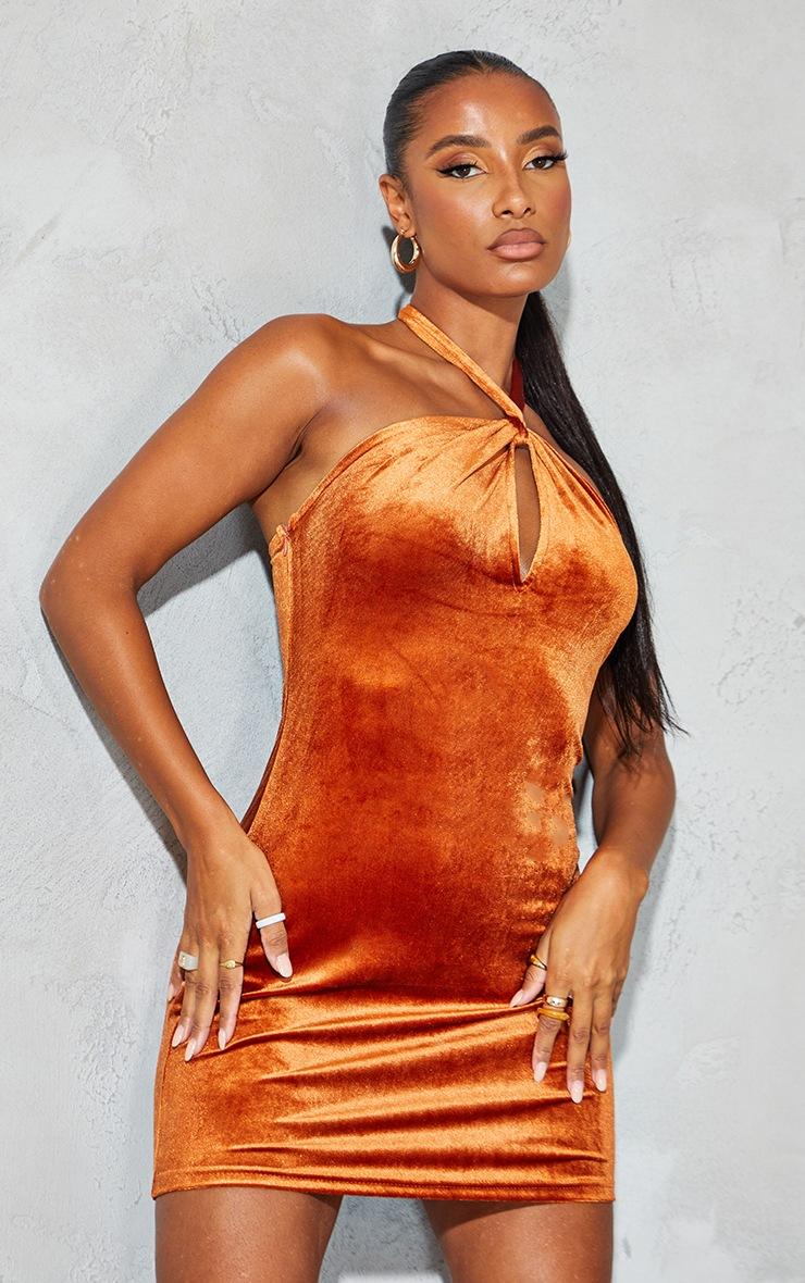 Rust Velvet Halterneck Knotted Bodycon Dress 3