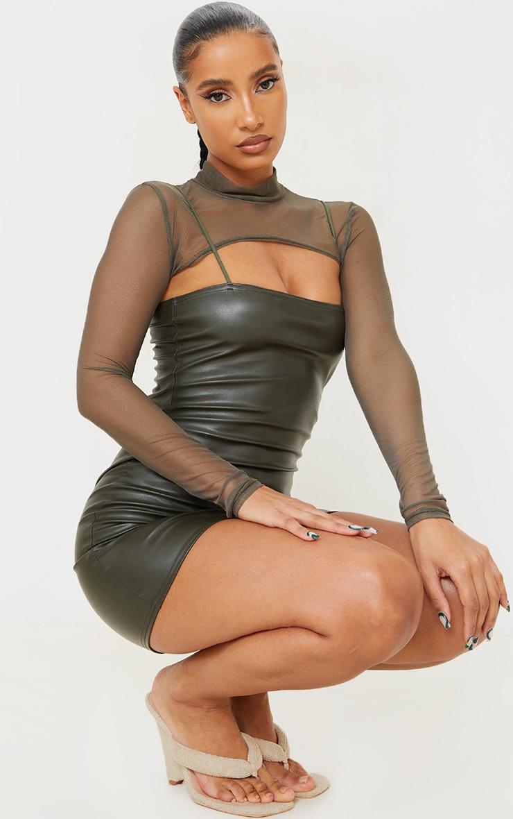 Khaki Mesh Layer Spaghetti Strap PU Bodycon Dress 1