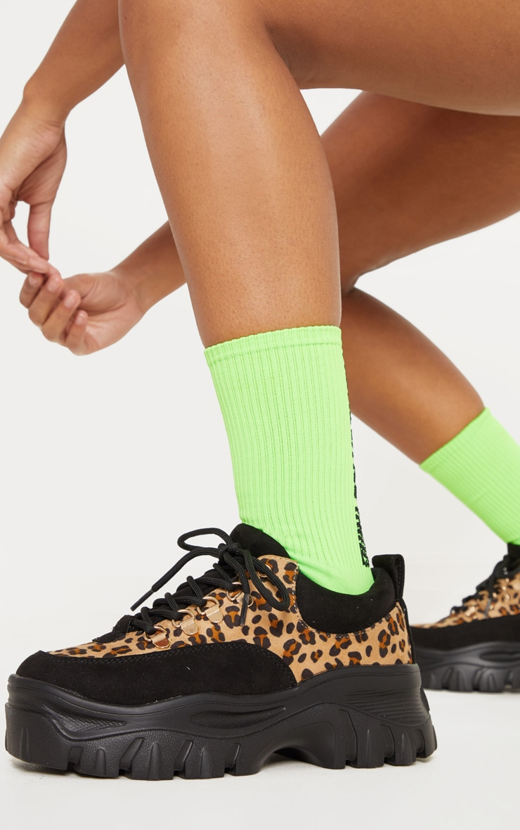 Leopard Flatform Chunky Hiker Trainer 2