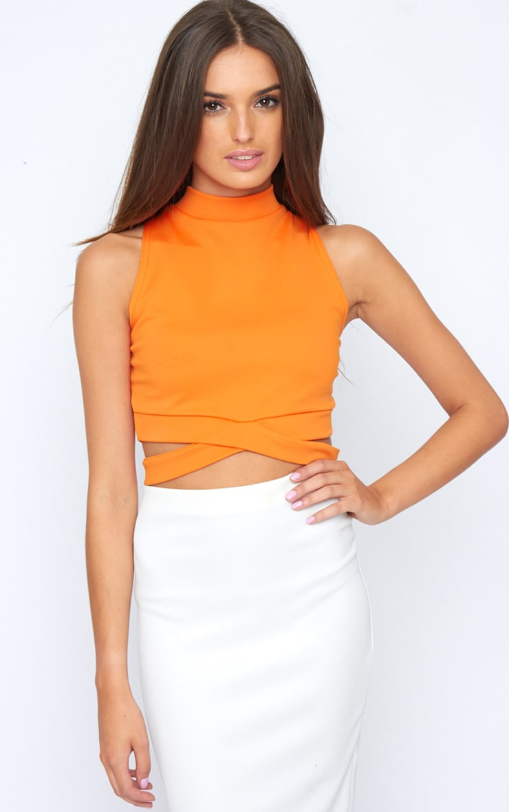 Selina Orange Tie Front Crop Top  1