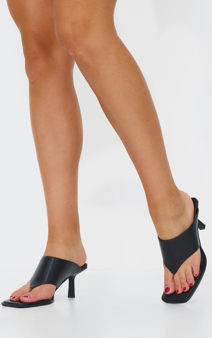 Black Toe Thong Extreme Square Toe Mules 1
