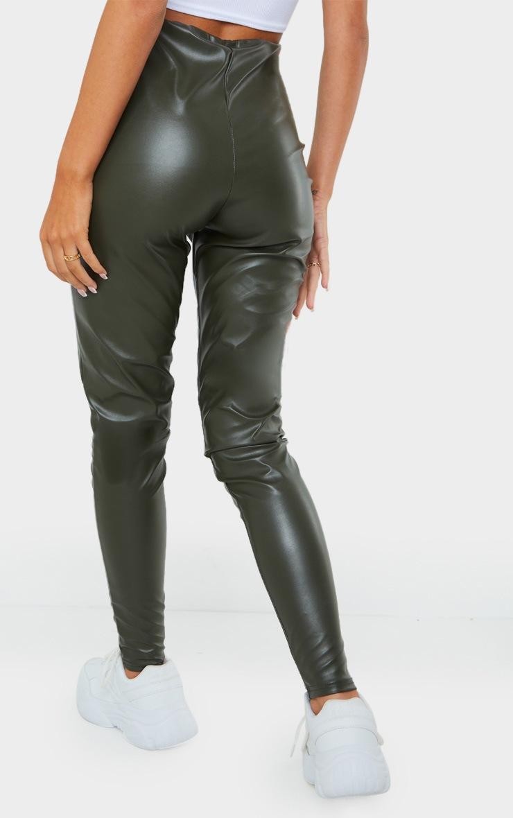 Khaki Faux Leather Leggings 3