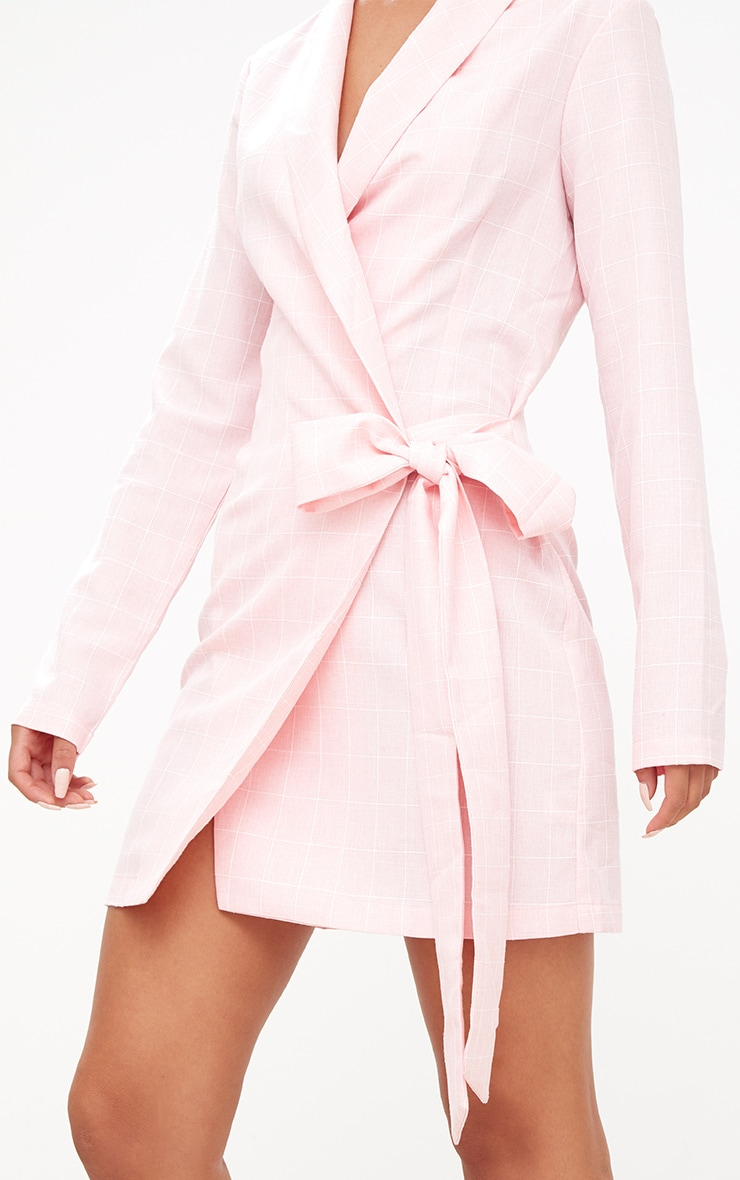 Pink Checked Blazer Dress 5