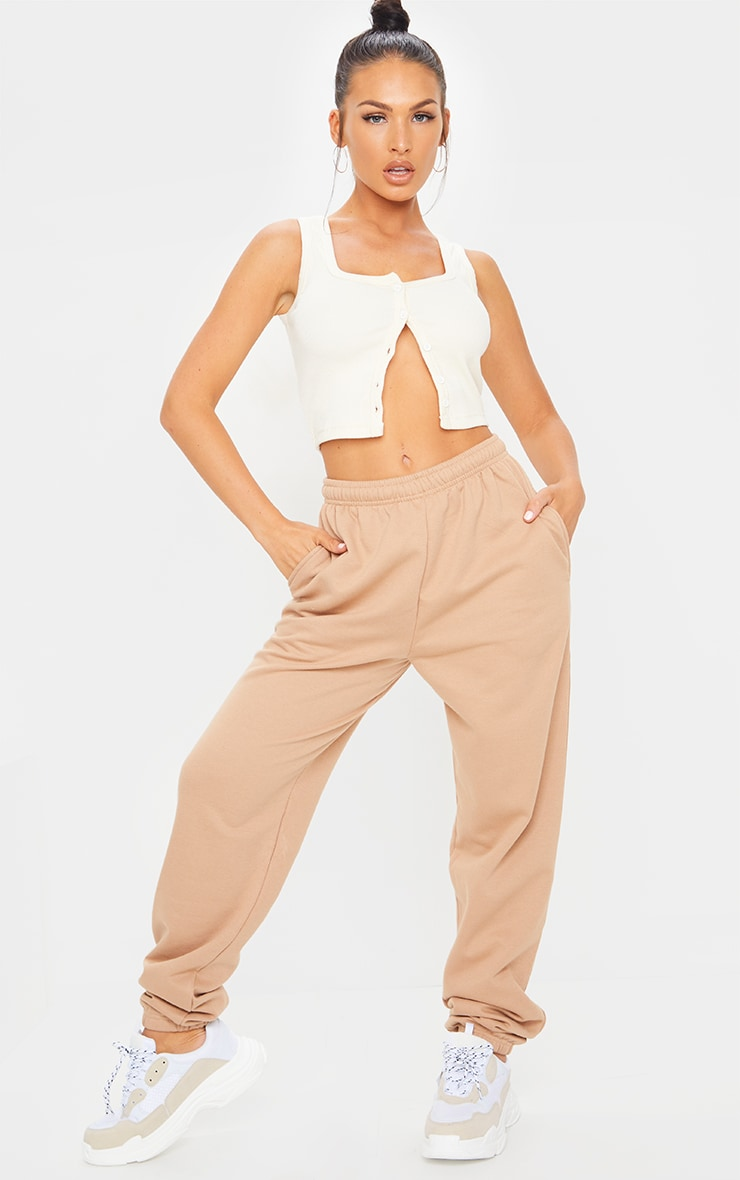 Pantalon de jogging camel clair casual 1