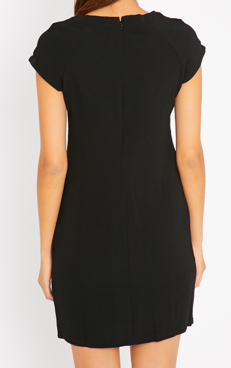 Hannah Black Waffle Shift Dress 2